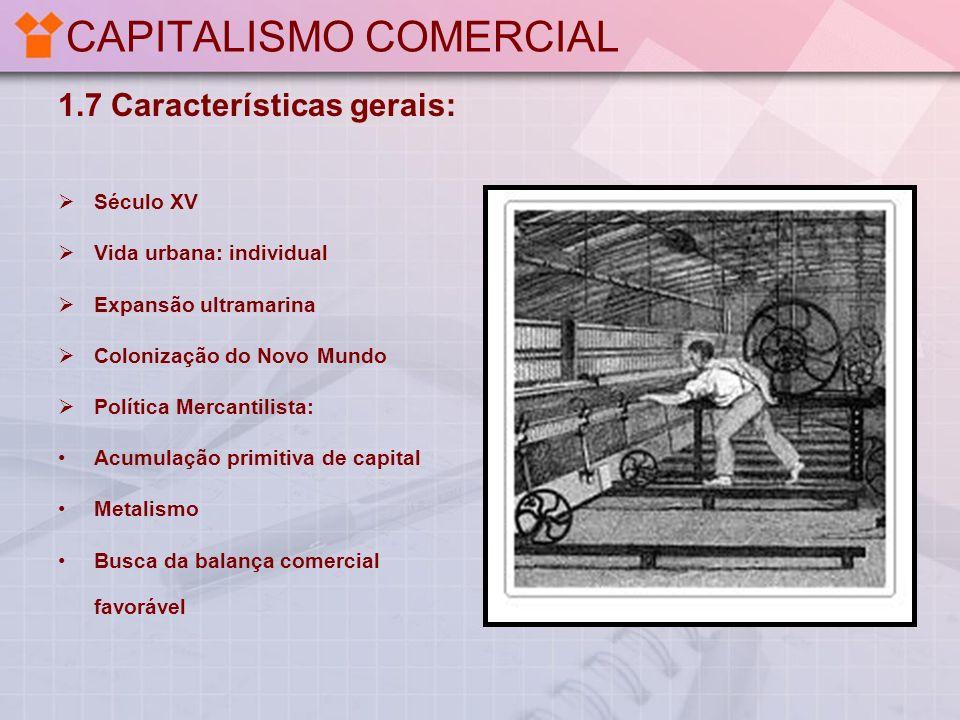 CAPITALISMO COMERCIAL 1.7 Características gerais: Século XV Vida urbana: individual Expansão ultramarina Colonização do Novo Mundo Política Mercantili