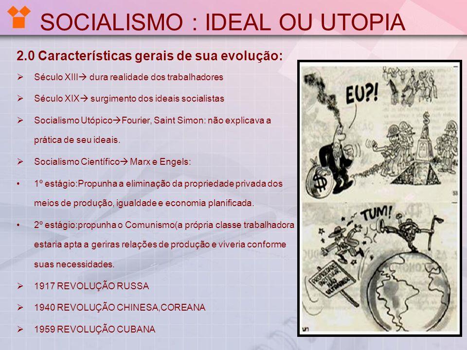 SOCIALISMO : IDEAL OU UTOPIA 2.0 Características gerais de sua evolução: Século XIII dura realidade dos trabalhadores Século XIX surgimento dos ideais