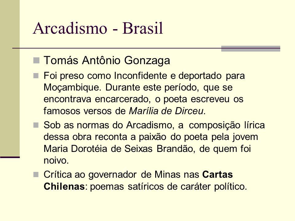 Arcadismo - Brasil Tomás Antônio Gonzaga Foi preso como Inconfidente e deportado para Moçambique.