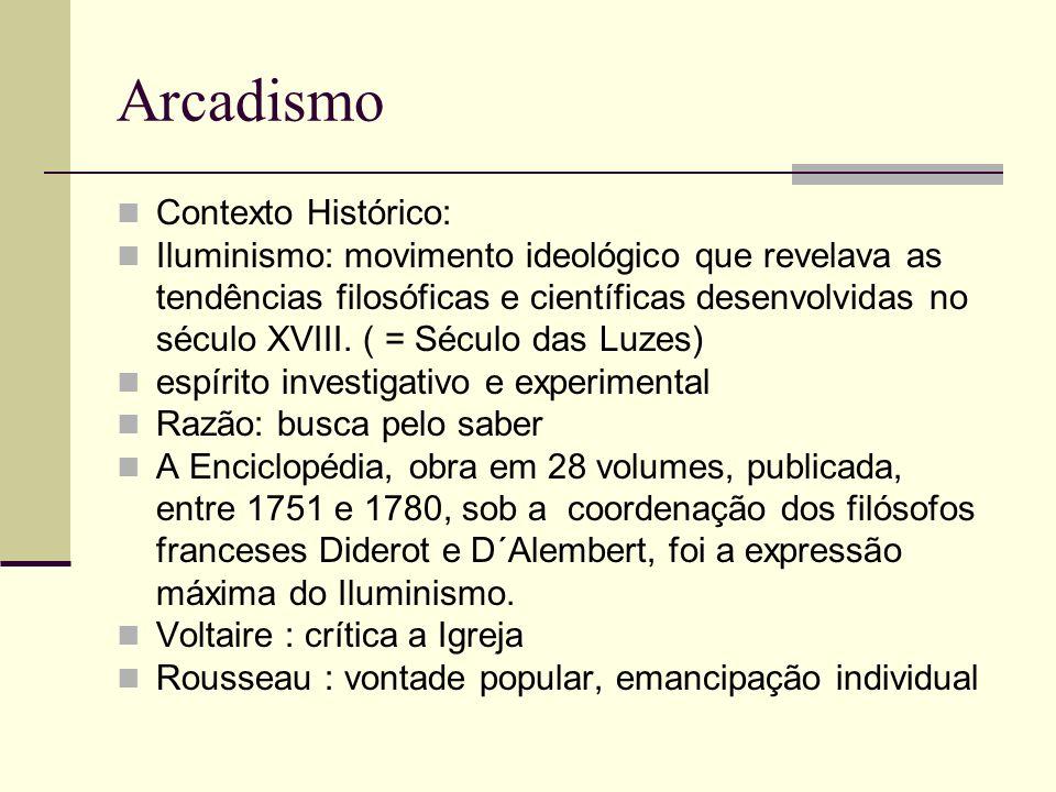 Arcadismo Contexto Histórico: Iluminismo: movimento ideológico que revelava as tendências filosóficas e científicas desenvolvidas no século XVIII.