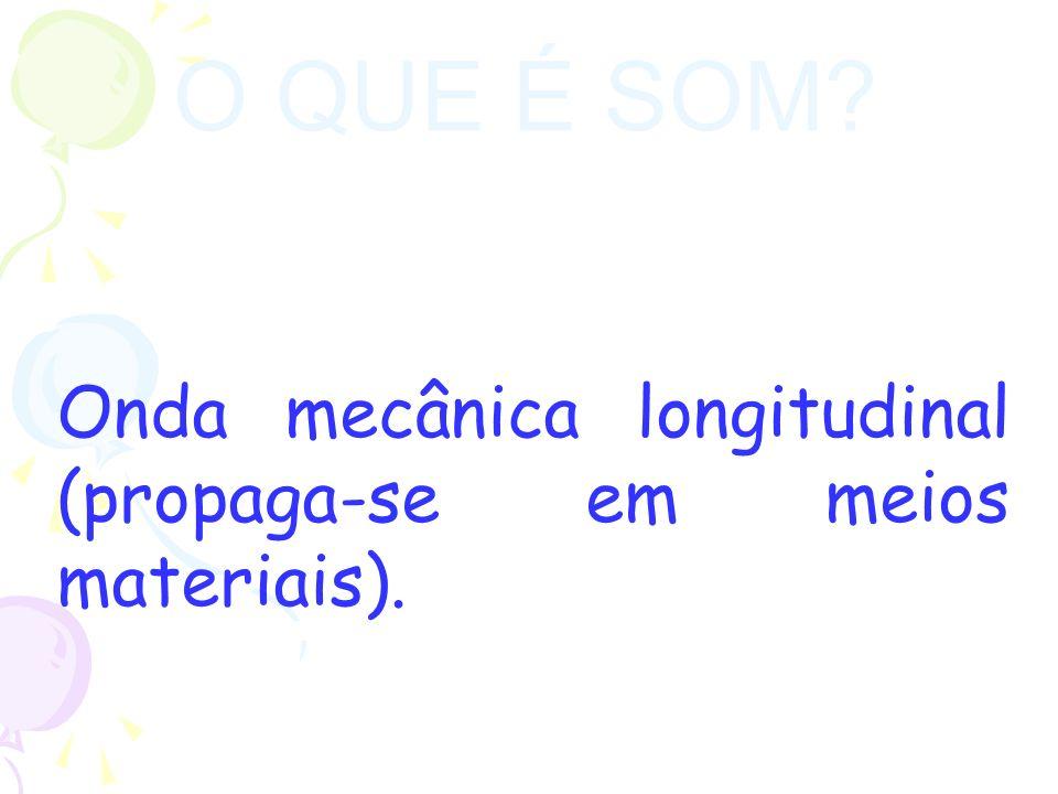 O QUE É SOM? Onda mecânica longitudinal (propaga-se em meios materiais).