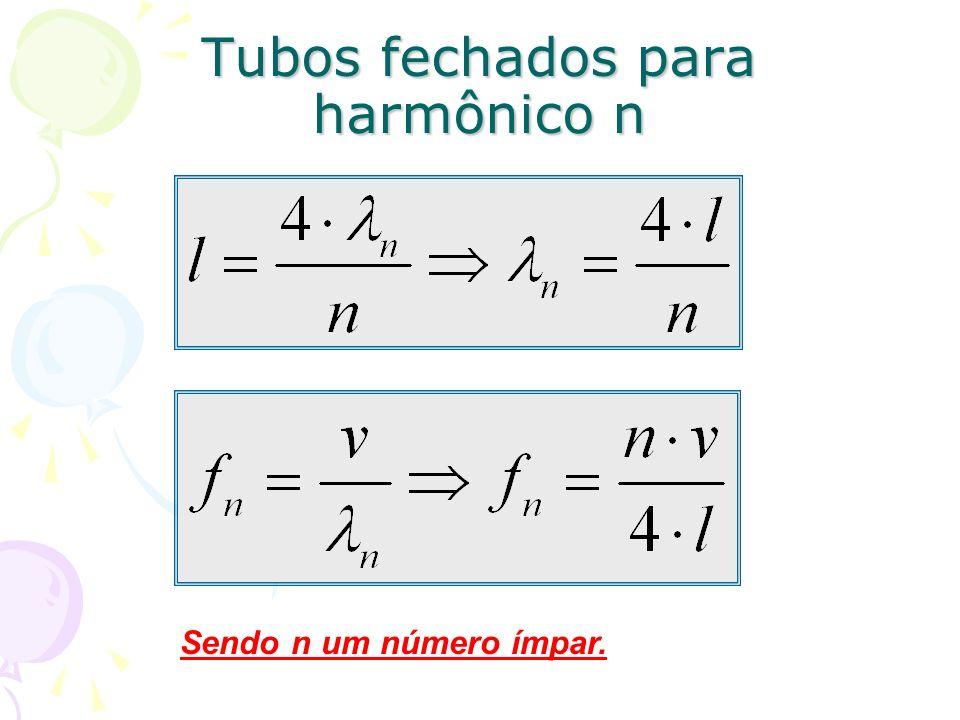 Tubos fechados para harmônico n Sendo n um número ímpar.