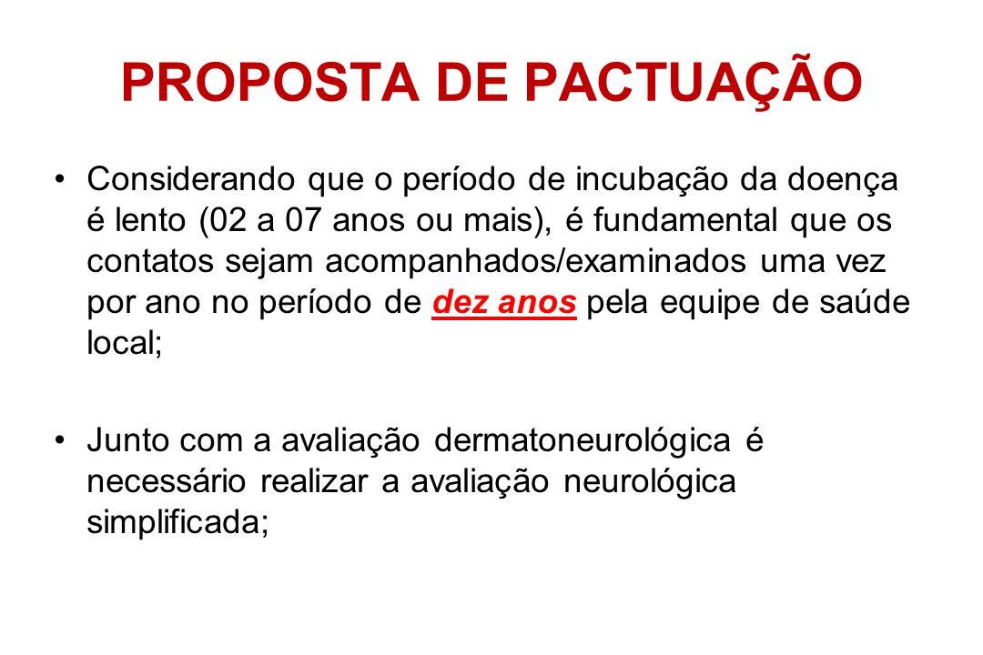 VIGILÂNCIA DE CONTATOS A sistematização da investigação consiste na regularidade da realização do exame dermato- neurológico de todos os contatos dos