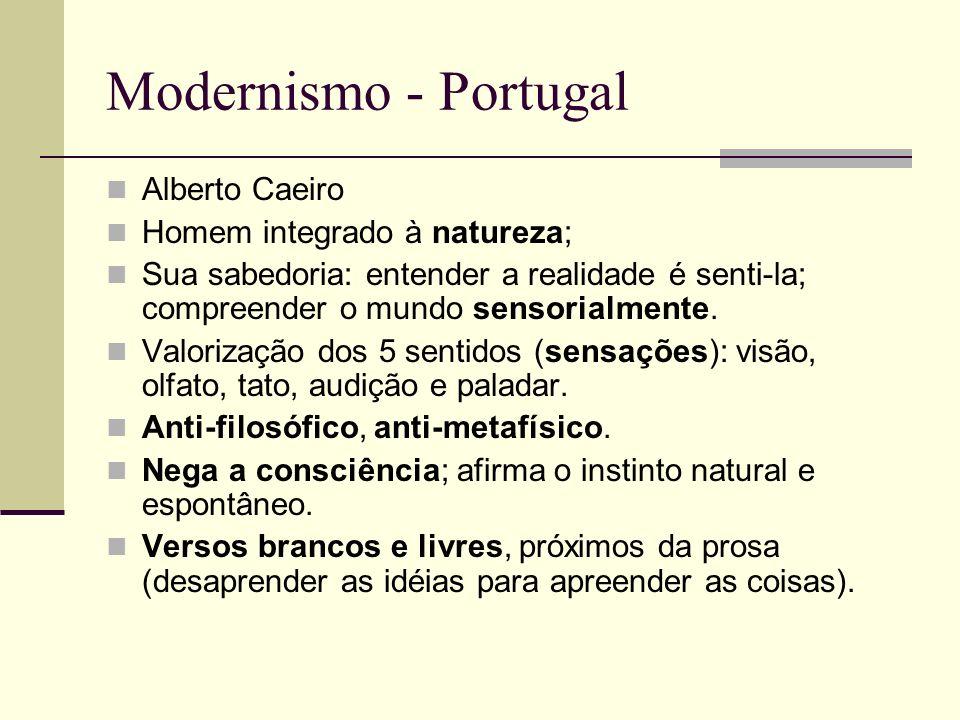 Modernismo - Portugal Alberto Caeiro Homem integrado à natureza; Sua sabedoria: entender a realidade é senti-la; compreender o mundo sensorialmente. V