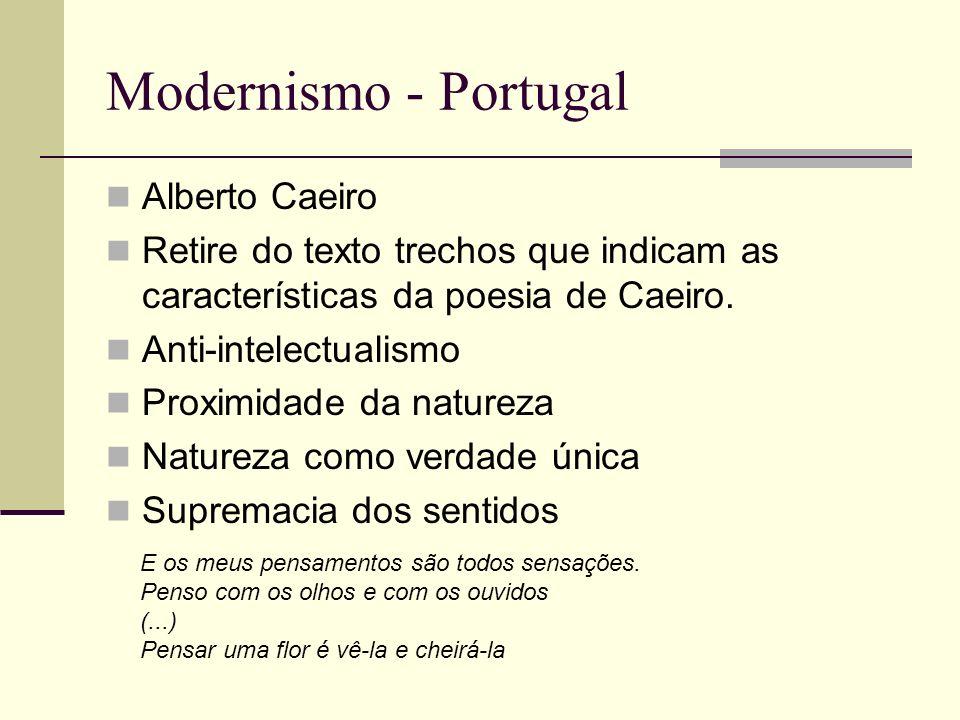 Modernismo - Portugal Alberto Caeiro Retire do texto trechos que indicam as características da poesia de Caeiro. Anti-intelectualismo Proximidade da n