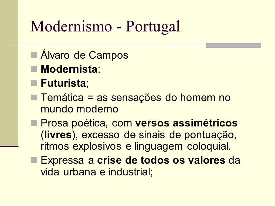 Modernismo - Portugal Álvaro de Campos Modernista; Futurista; Temática = as sensações do homem no mundo moderno Prosa poética, com versos assimétricos