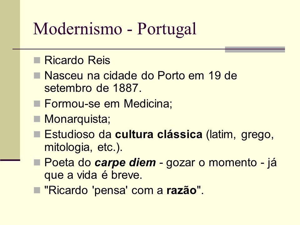 Modernismo - Portugal Ricardo Reis Nasceu na cidade do Porto em 19 de setembro de 1887. Formou-se em Medicina; Monarquista; Estudioso da cultura cláss
