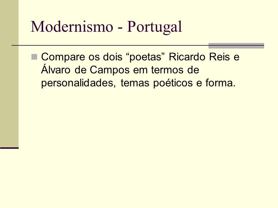 Modernismo - Portugal Compare os dois poetas Ricardo Reis e Álvaro de Campos em termos de personalidades, temas poéticos e forma.
