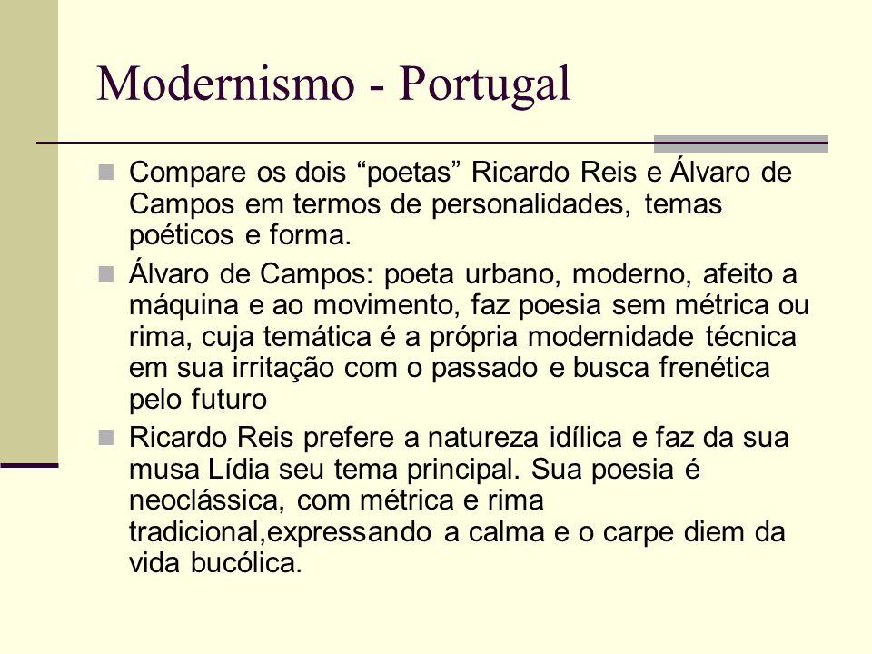 Modernismo - Portugal Compare os dois poetas Ricardo Reis e Álvaro de Campos em termos de personalidades, temas poéticos e forma. Álvaro de Campos: po