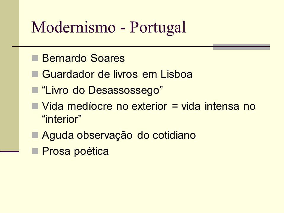 Modernismo - Portugal Bernardo Soares Guardador de livros em Lisboa Livro do Desassossego Vida medíocre no exterior = vida intensa no interior Aguda o