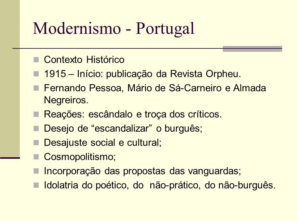 Modernismo - Portugal Contexto Histórico 1915 – Início: publicação da Revista Orpheu. Fernando Pessoa, Mário de Sá-Carneiro e Almada Negreiros. Reaçõe