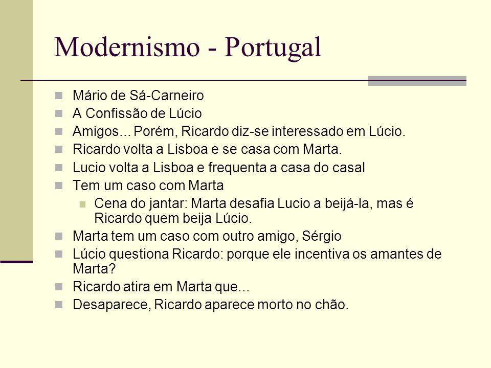 Modernismo - Portugal Mário de Sá-Carneiro A Confissão de Lúcio Amigos... Porém, Ricardo diz-se interessado em Lúcio. Ricardo volta a Lisboa e se casa