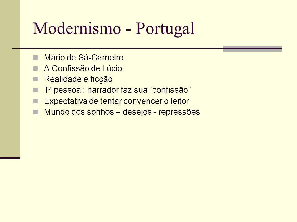 Modernismo - Portugal Mário de Sá-Carneiro A Confissão de Lúcio Realidade e ficção 1ª pessoa : narrador faz sua confissão Expectativa de tentar conven