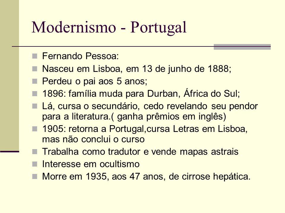 Modernismo - Portugal Bernardo Soares Guardador de livros em Lisboa Livro do Desassossego Vida medíocre no exterior = vida intensa no interior Aguda observação do cotidiano Prosa poética