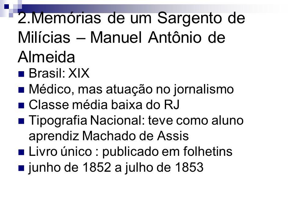 2.Memórias de um Sargento de Milícias – Manuel Antônio de Almeida Brasil: XIX Médico, mas atuação no jornalismo Classe média baixa do RJ Tipografia Na