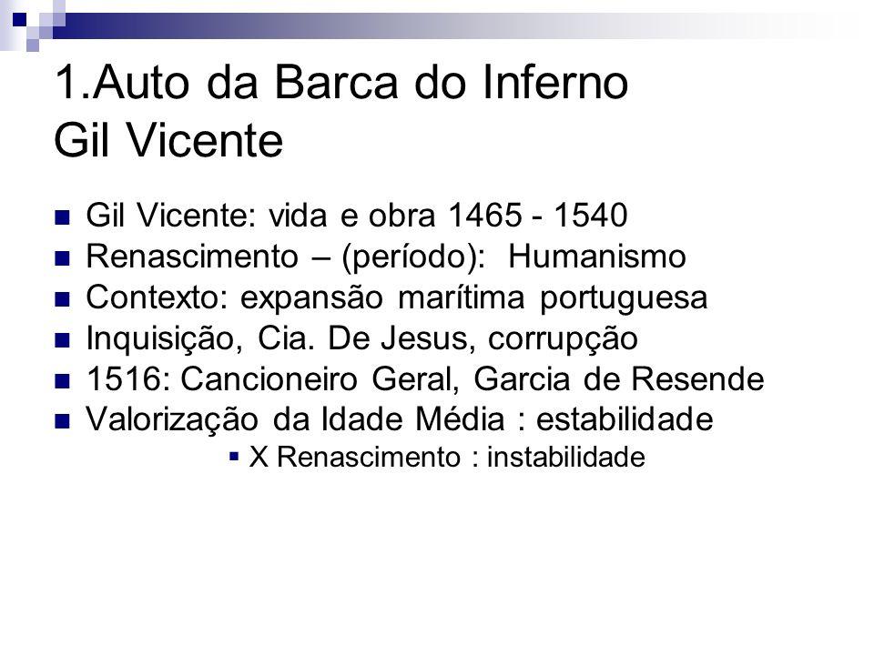 1.Auto da Barca do Inferno Gil Vicente Gil Vicente: vida e obra 1465 - 1540 Renascimento – (período): Humanismo Contexto: expansão marítima portuguesa