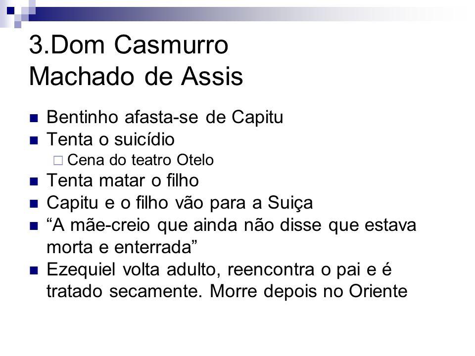 3.Dom Casmurro Machado de Assis Bentinho afasta-se de Capitu Tenta o suicídio Cena do teatro Otelo Tenta matar o filho Capitu e o filho vão para a Sui
