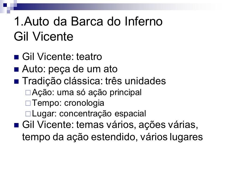 1.Auto da Barca do Inferno Gil Vicente Gil Vicente: teatro Auto: peça de um ato Tradição clássica: três unidades Ação: uma só ação principal Tempo: cr
