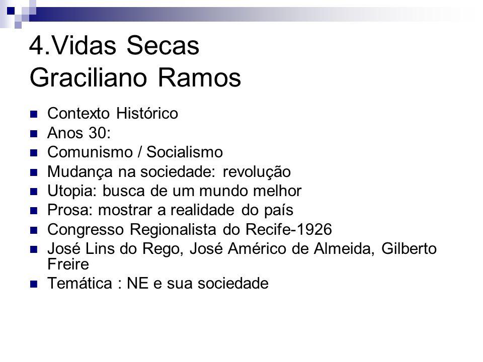 4.Vidas Secas Graciliano Ramos Contexto Histórico Anos 30: Comunismo / Socialismo Mudança na sociedade: revolução Utopia: busca de um mundo melhor Pro