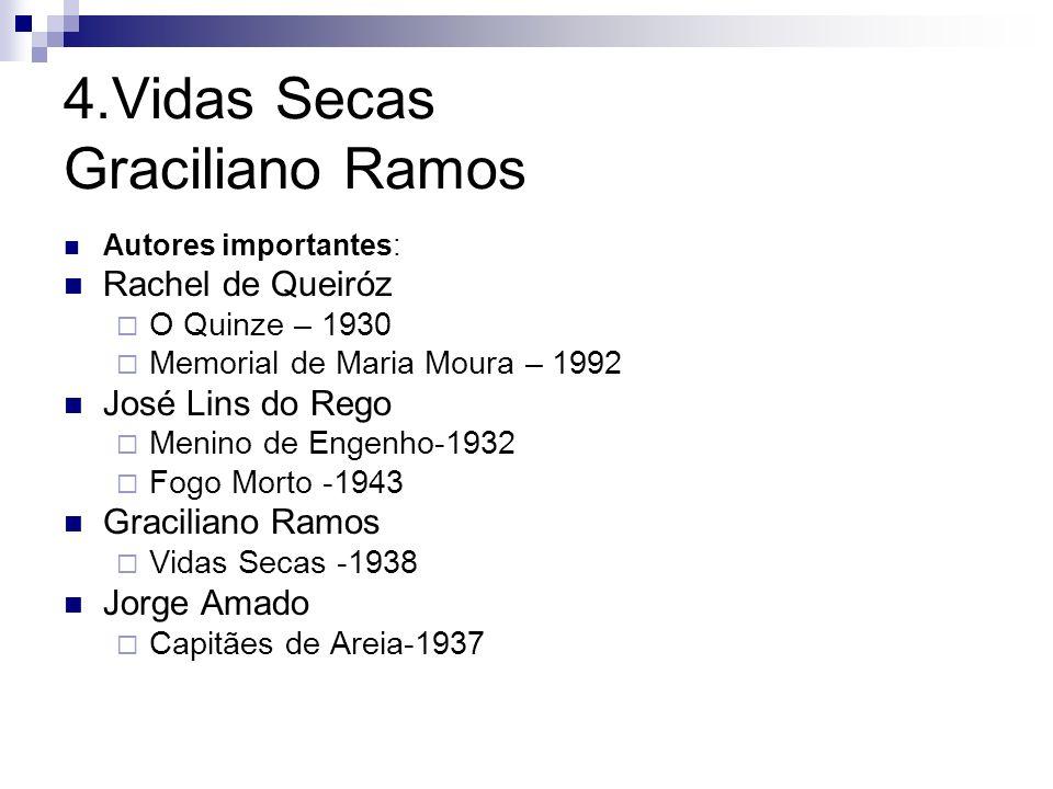 4.Vidas Secas Graciliano Ramos Autores importantes: Rachel de Queiróz O Quinze – 1930 Memorial de Maria Moura – 1992 José Lins do Rego Menino de Engen