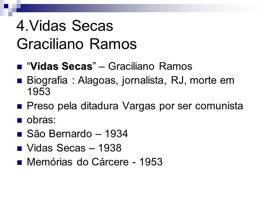 4.Vidas Secas Graciliano Ramos Vidas SecasVidas Secas – Graciliano Ramos Biografia : Alagoas, jornalista, RJ, morte em 1953 Preso pela ditadura Vargas
