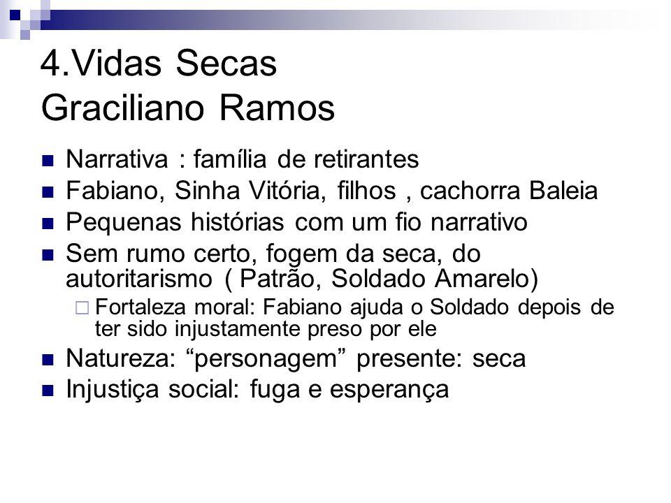 4.Vidas Secas Graciliano Ramos Narrativa : família de retirantes Fabiano, Sinha Vitória, filhos, cachorra Baleia Pequenas histórias com um fio narrati