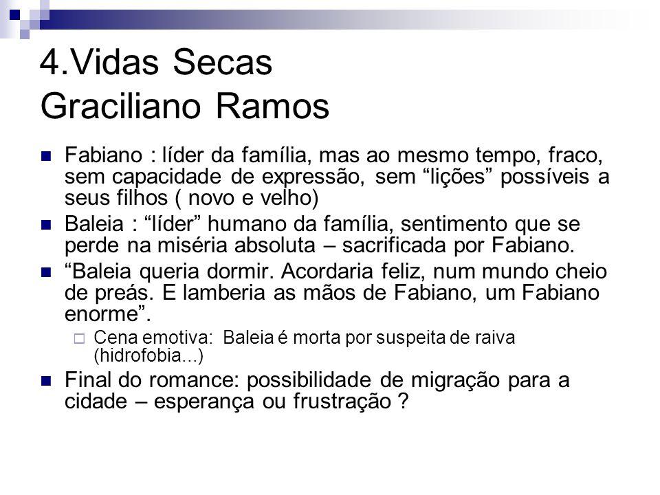 4.Vidas Secas Graciliano Ramos Fabiano : líder da família, mas ao mesmo tempo, fraco, sem capacidade de expressão, sem lições possíveis a seus filhos