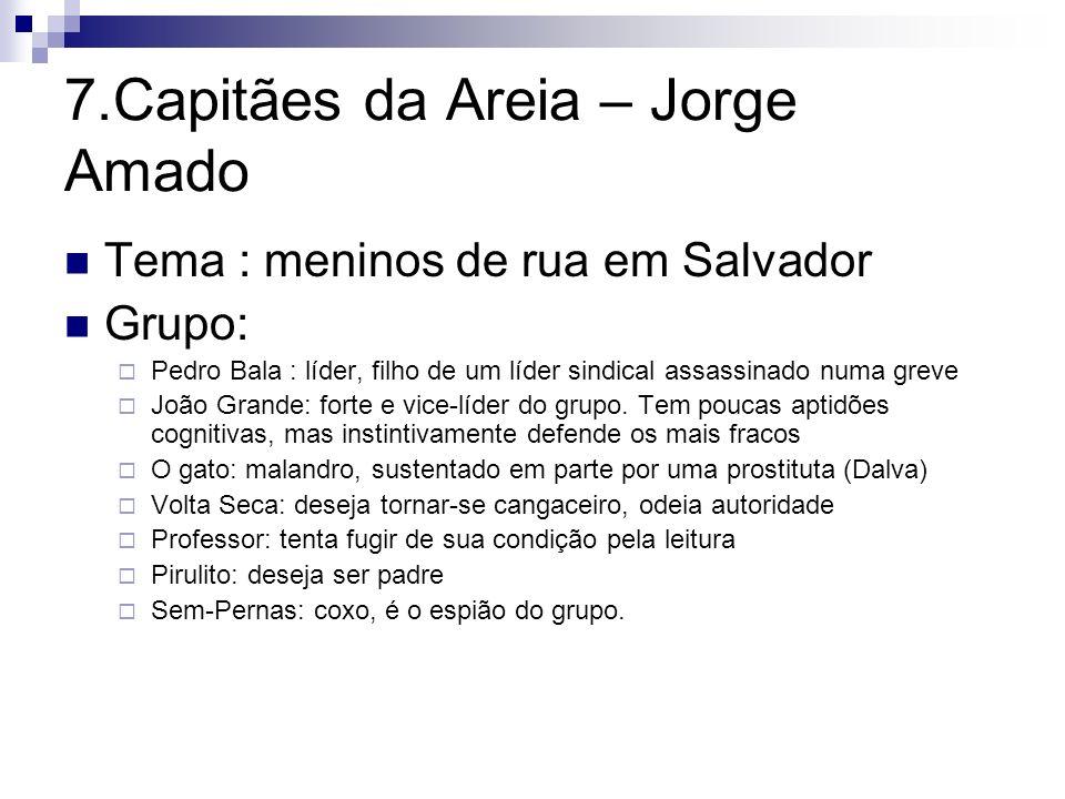 7.Capitães da Areia – Jorge Amado Tema : meninos de rua em Salvador Grupo: Pedro Bala : líder, filho de um líder sindical assassinado numa greve João