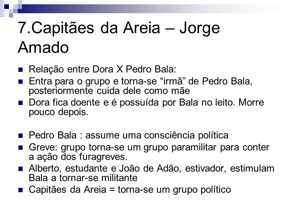 7.Capitães da Areia – Jorge Amado Relação entre Dora X Pedro Bala: Entra para o grupo e torna-se irmã de Pedro Bala, posteriormente cuida dele como mã