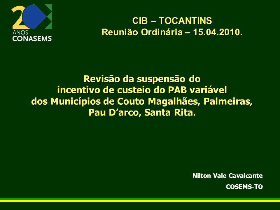 CIB – TOCANTINS Reunião Ordinária – 15.04.2010. Revisão da suspensão do incentivo de custeio do PAB variável dos Municípios de Couto Magalhães, Palmei