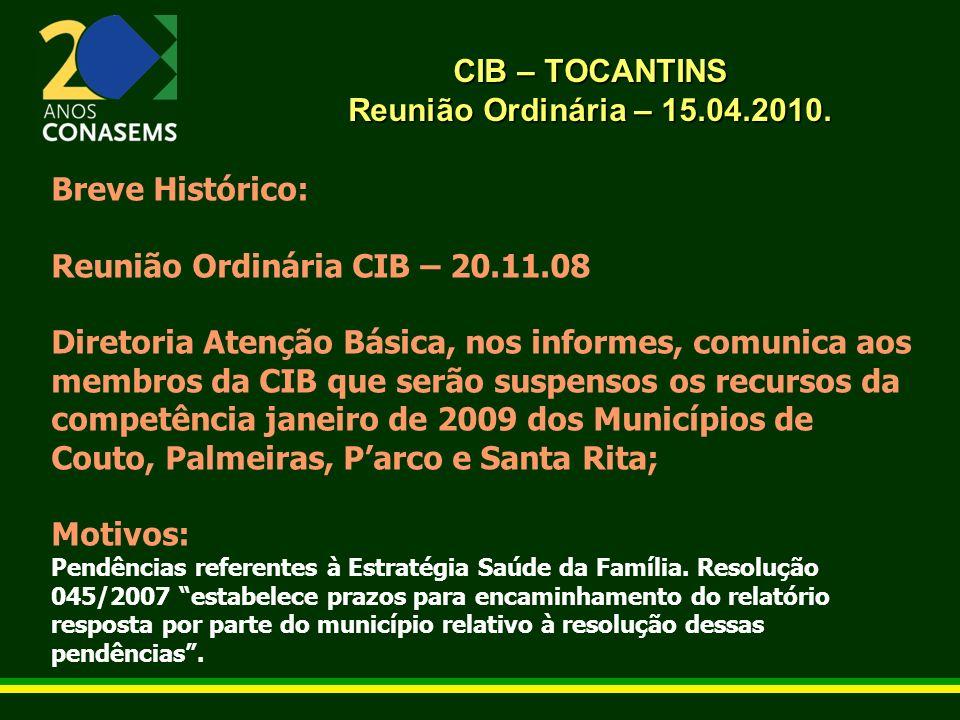 CIB – TOCANTINS Reunião Ordinária – 15.04.2010. Breve Histórico: Reunião Ordinária CIB – 20.11.08 Diretoria Atenção Básica, nos informes, comunica aos