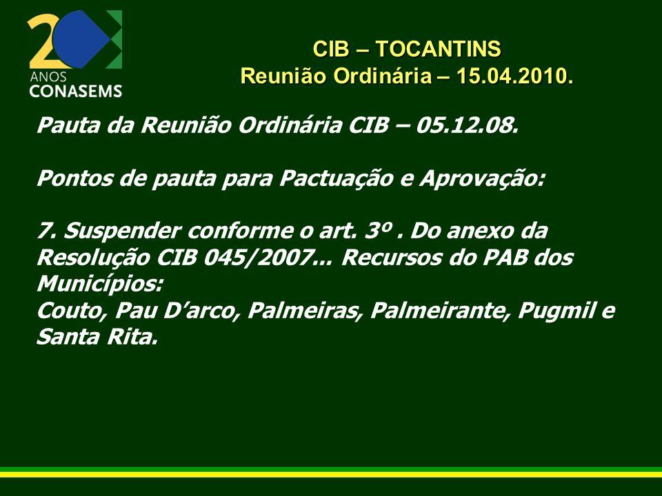 CIB – TOCANTINS Reunião Ordinária – 15.04.2010. Pauta da Reunião Ordinária CIB – 05.12.08. Pontos de pauta para Pactuação e Aprovação: 7. Suspender co