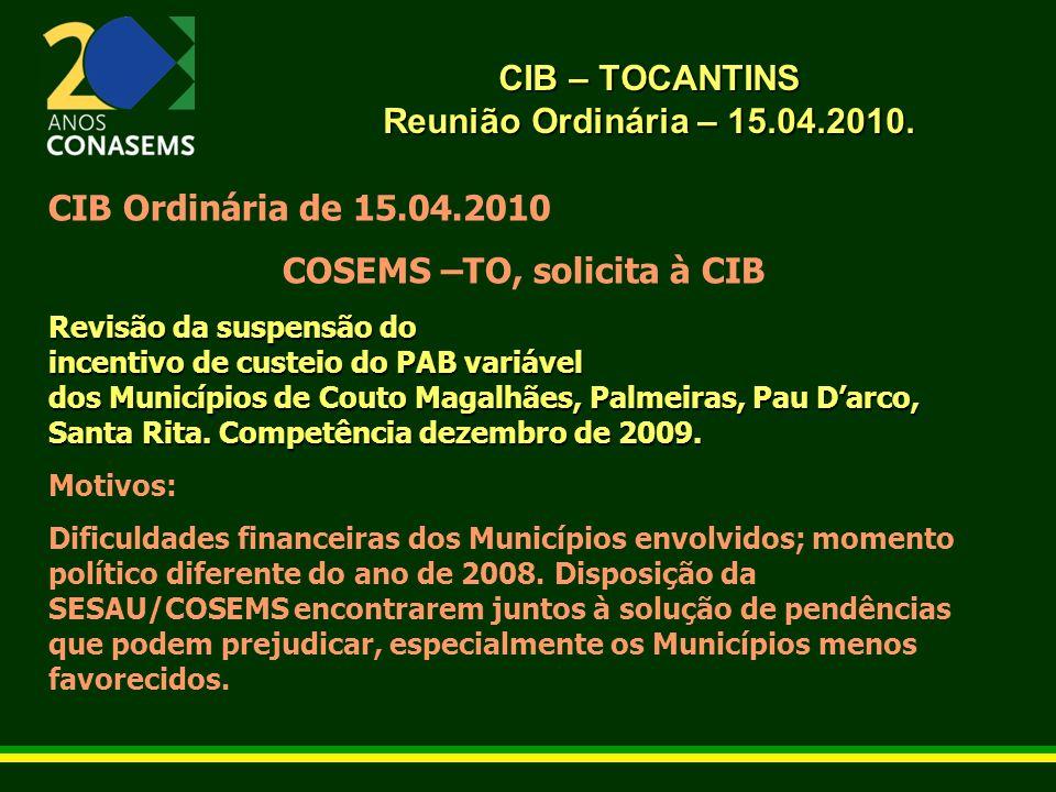 CIB – TOCANTINS Reunião Ordinária – 15.04.2010. CIB Ordinária de 15.04.2010 COSEMS –TO, solicita à CIB Revisão da suspensão do incentivo de custeio do