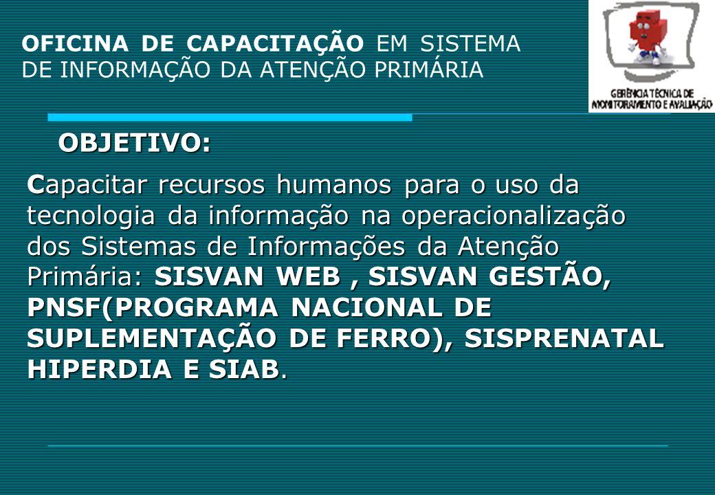 OFICINA DE CAPACITAÇÃO EM SISTEMA DE INFORMAÇÃO DA ATENÇÃO PRIMÁRIA Público Alvo: Profissionais responsáveis pela digitação dos Sistemas de Informações dos 139 municípios do Estado.