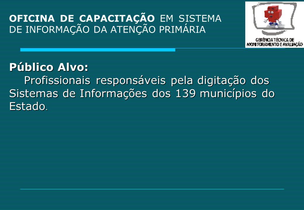 OFICINA DE CAPACITAÇÃO EM SISTEMA DE INFORMAÇÃO DA ATENÇÃO PRIMÁRIA 54 MUNICÍPIOS CAPACITADOS ABREULÂNDIA ALIANÇA ALMAS ARAGOMINAS ARAGUACEMA ARAGUAINA ARRAIAS BANDEIRANTES BARRA DO OURO BERNARDO SAYAO BREJINHO DE NAZARE CAMPOS LINDOS CARMOLANDIA CARRASCO BONITO CENTENÁRIO CHAPADA DE AREIA COLINAS COMBINADO DIANOPOLIS DIVINOPOLIS DOIS IRMAOS DUERE ESPERANTINA FATIMA GOIATINS GUARAI GURUPI IPUEIRAS JAU DO TOCANTINS LAVANDEIRA