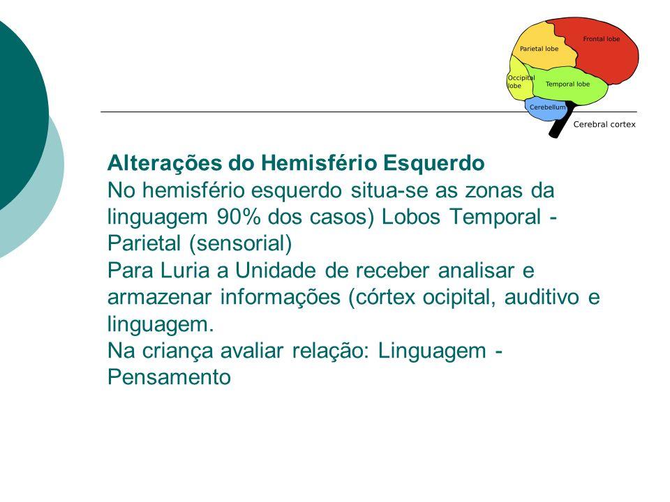 Alterações do Hemisfério Esquerdo No hemisfério esquerdo situa-se as zonas da linguagem 90% dos casos) Lobos Temporal - Parietal (sensorial) Para Luri