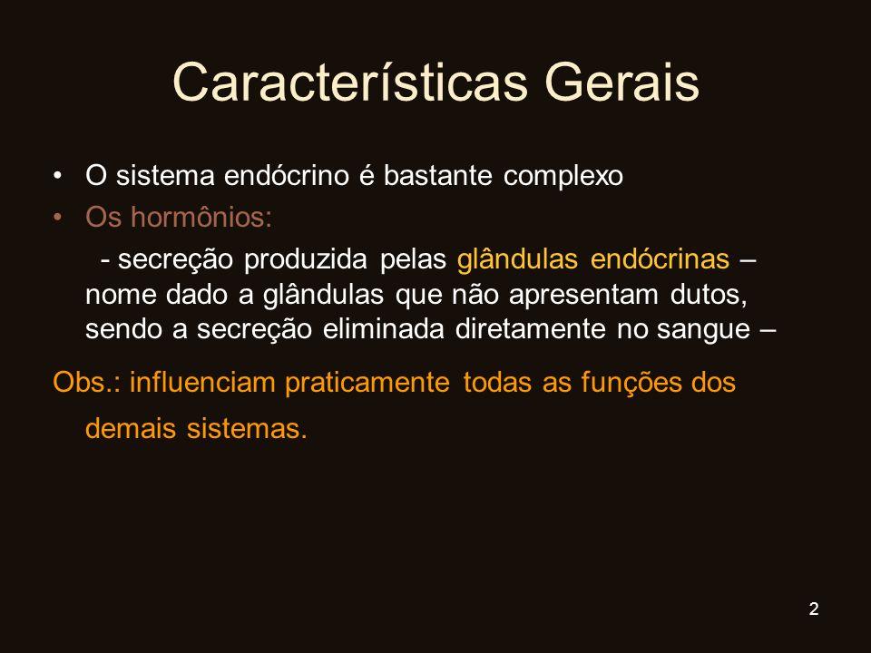 Características Gerais O sistema endócrino é bastante complexo Os hormônios: - secreção produzida pelas glândulas endócrinas – nome dado a glândulas q