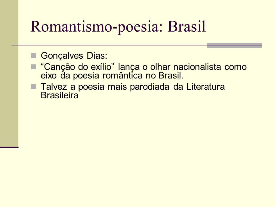 Romantismo-poesia: Brasil Gonçalves Dias: Canção do exílio lança o olhar nacionalista como eixo da poesia romântica no Brasil. Talvez a poesia mais pa