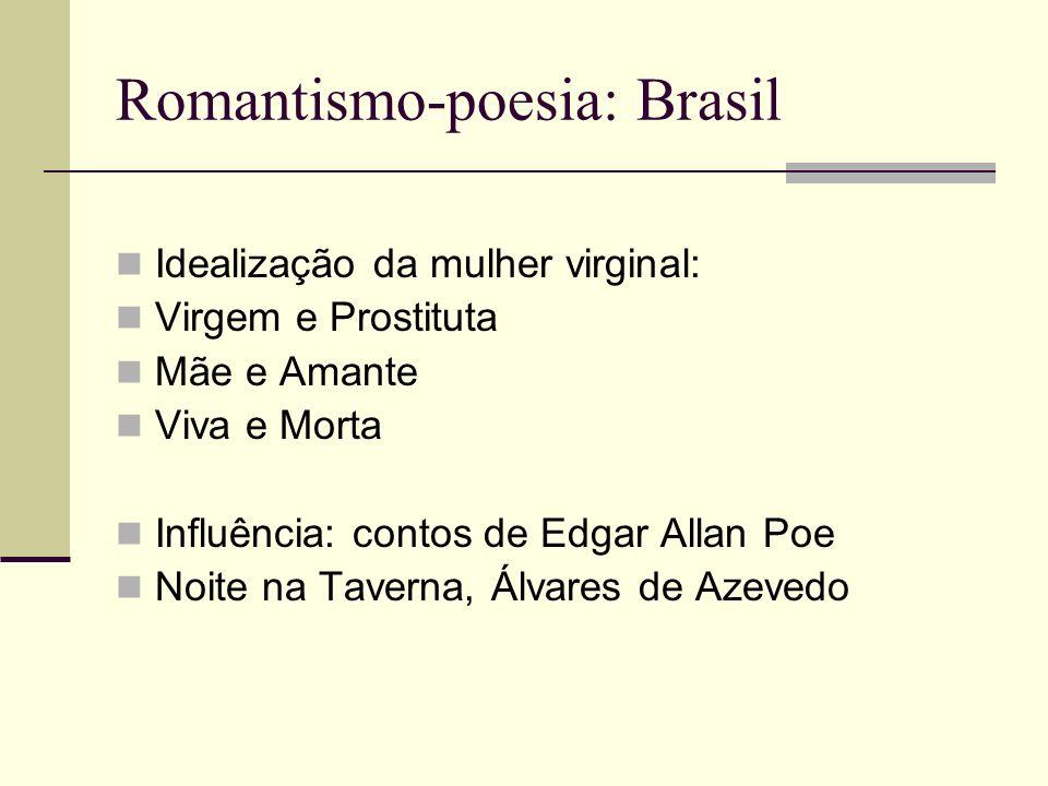 Romantismo-poesia: Brasil Idealização da mulher virginal: Virgem e Prostituta Mãe e Amante Viva e Morta Influência: contos de Edgar Allan Poe Noite na