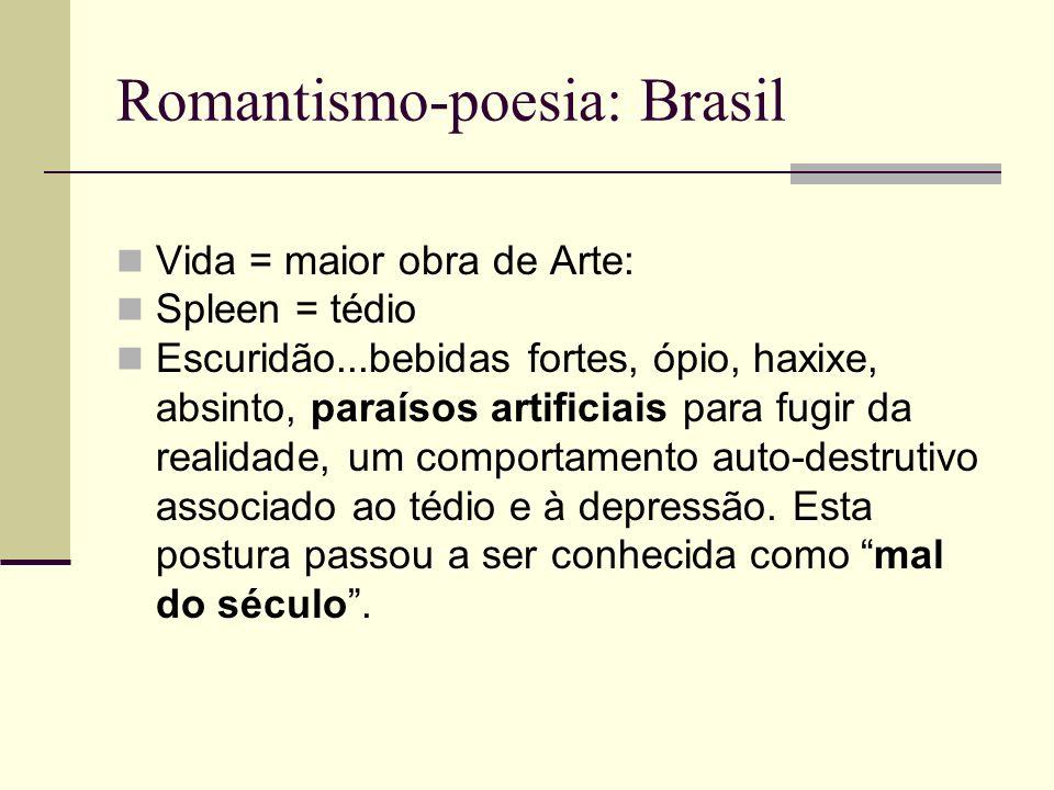 Romantismo-poesia: Brasil Vida = maior obra de Arte: Spleen = tédio Escuridão...bebidas fortes, ópio, haxixe, absinto, paraísos artificiais para fugir