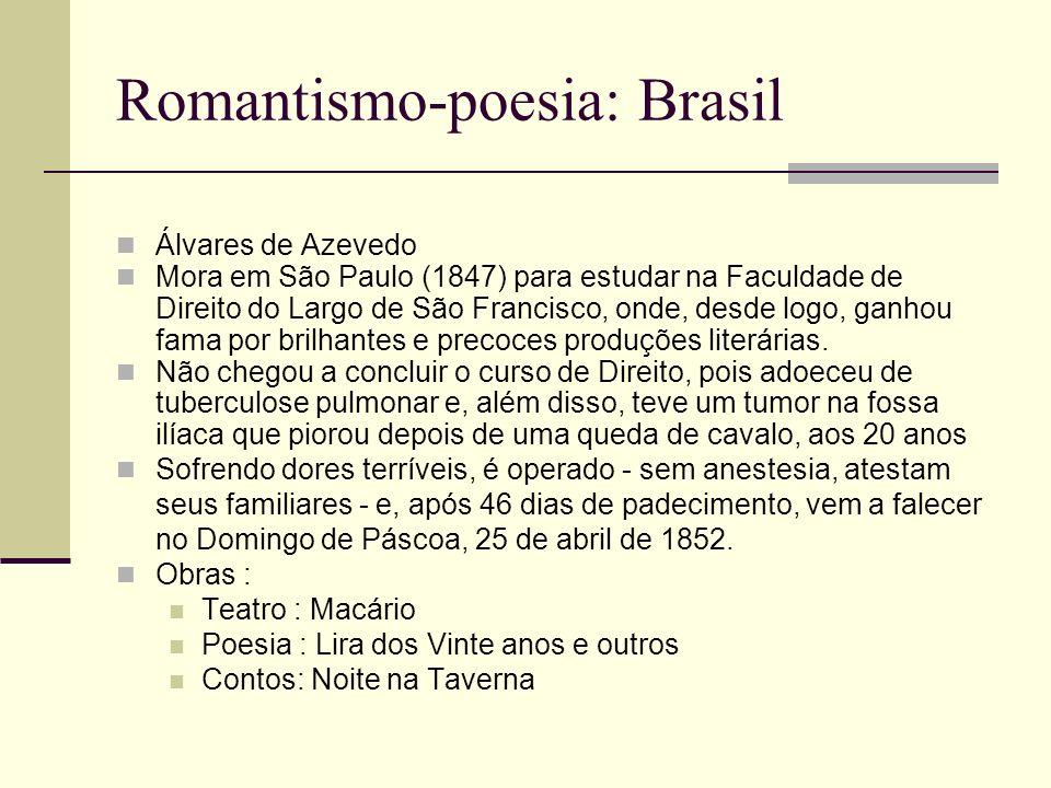 Romantismo-poesia: Brasil Álvares de Azevedo Mora em São Paulo (1847) para estudar na Faculdade de Direito do Largo de São Francisco, onde, desde logo