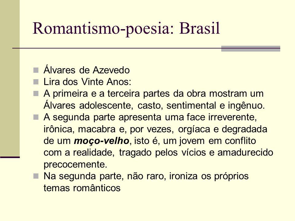 Romantismo-poesia: Brasil Álvares de Azevedo Lira dos Vinte Anos: A primeira e a terceira partes da obra mostram um Álvares adolescente, casto, sentim