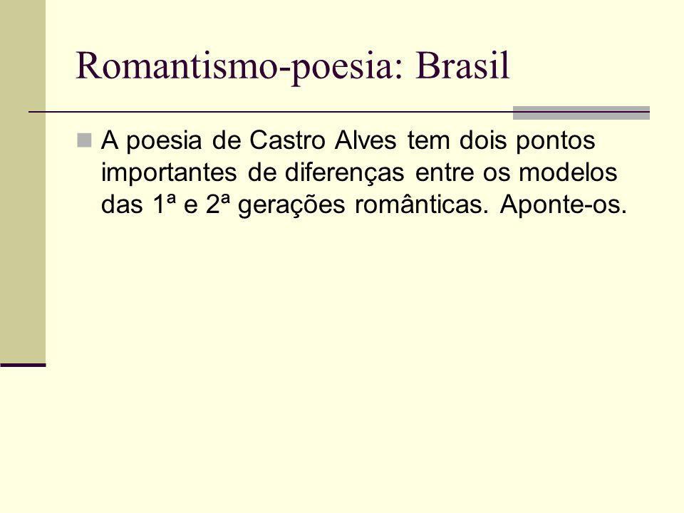 Romantismo-poesia: Brasil A poesia de Castro Alves tem dois pontos importantes de diferenças entre os modelos das 1ª e 2ª gerações românticas. Aponte-