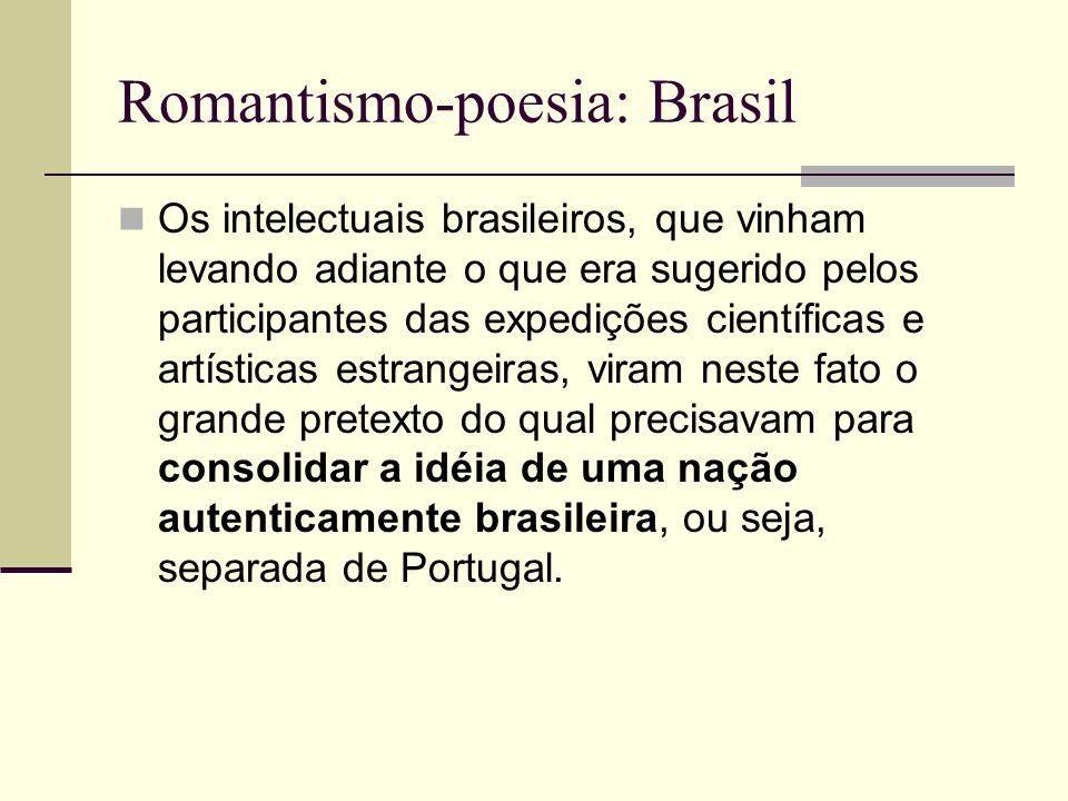 Romantismo-poesia: Brasil Os intelectuais brasileiros, que vinham levando adiante o que era sugerido pelos participantes das expedições científicas e