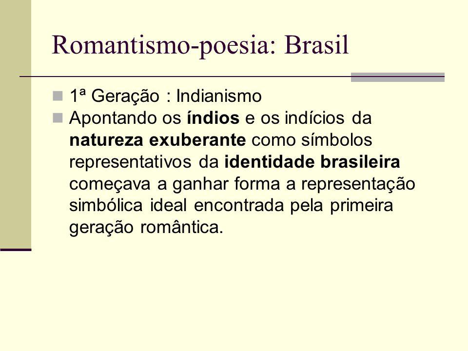 Romantismo-poesia: Brasil 1ª Geração : Indianismo Apontando os índios e os indícios da natureza exuberante como símbolos representativos da identidade