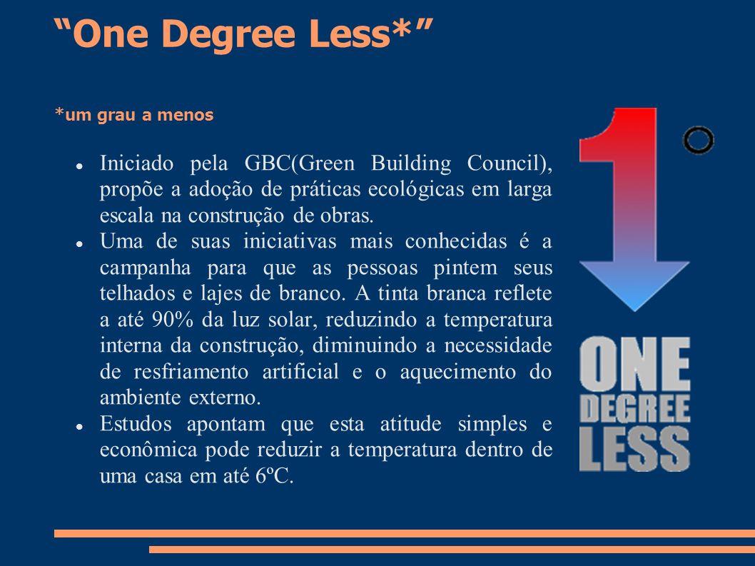 One Degree Less* *um grau a menos Iniciado pela GBC(Green Building Council), propõe a adoção de práticas ecológicas em larga escala na construção de o