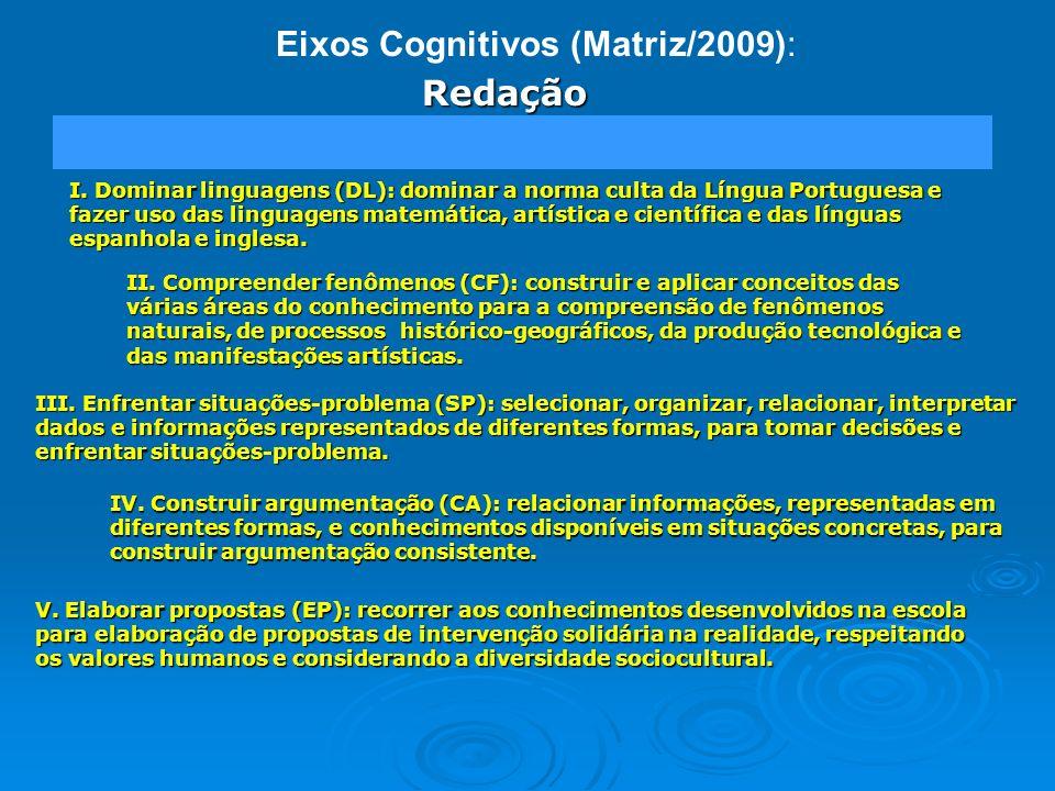 Eixos Cognitivos (Matriz/2009): I. Dominar linguagens (DL): dominar a norma culta da Língua Portuguesa e fazer uso das linguagens matemática, artístic