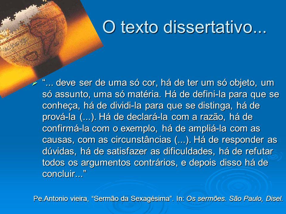 O texto dissertativo... O texto dissertativo...... deve ser de uma só cor, há de ter um só objeto, um só assunto, uma só matéria. Há de defini-la para