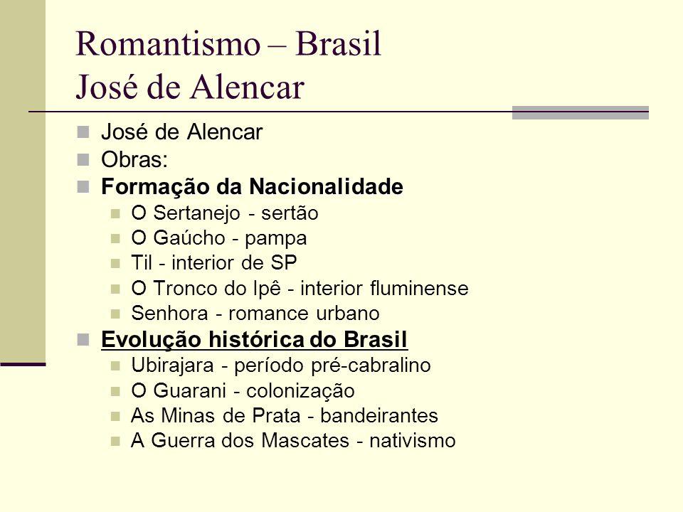 Romantismo – Brasil José de Alencar José de Alencar Obras: Formação da Nacionalidade Formação da Nacionalidade O Sertanejo - sertão O Gaúcho - pampa T