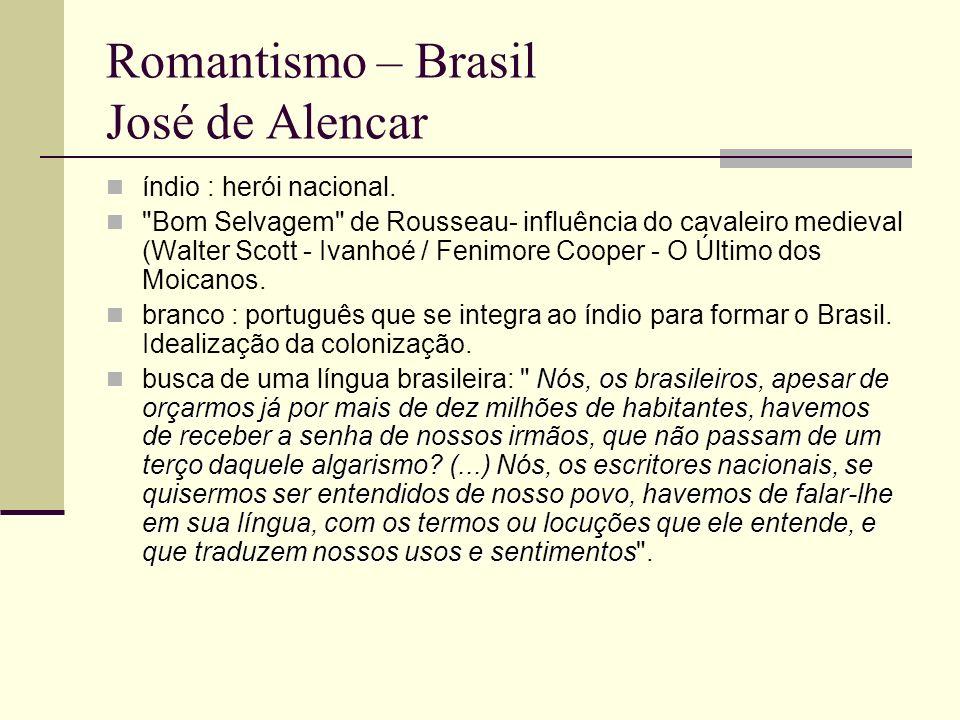 Romantismo – Brasil José de Alencar índio : herói nacional.